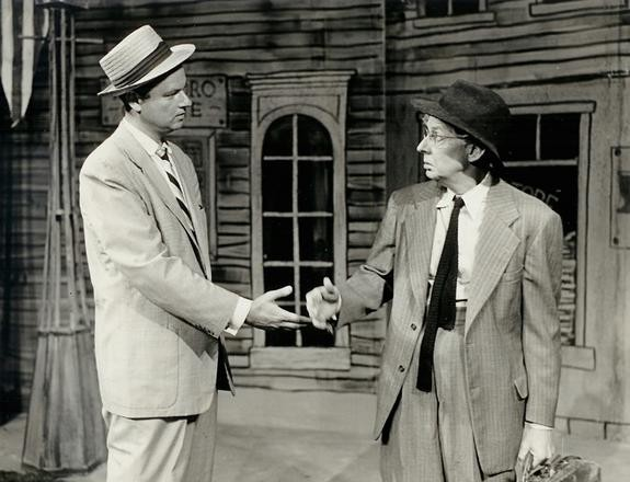 """Thompson (right) with Harvey Korman in the 1957 production of """"Inherit the Wind."""" Photo courtesy of Peninsula Players."""