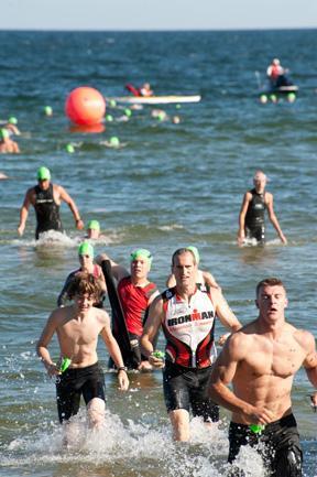 Door County Triathlon Leaving Water