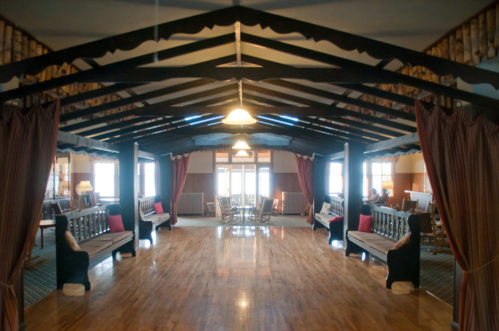One of four dance halls at the resort, once filled by visitors staying on the American Plan and local revelers. It's now filled regularly by wedding receptions at the resort. Photo by Taylor Schultz.