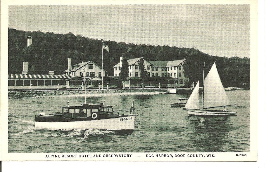 A vintage postcard gives a glimpse of Egg Harbor's early days. The Alpine Water tower (upper left) was once a favorite adventure for summer kids.