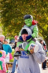 A miniature hulk hangs out during last year's Jack O'Lantern Days in Fish Creek.