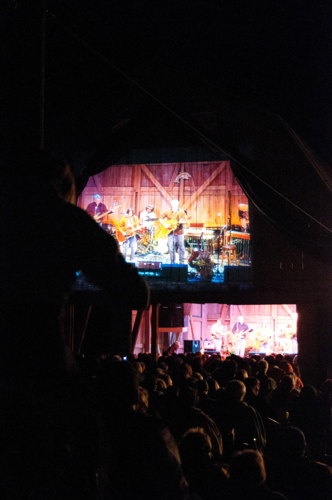 When crowds grew too big for the barn, Ellmann began projecting the concert on the wall outside for the overflow, creating a combination drive-in and concert feel at the barn.