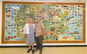 Jeanne Svien (Aurelius) and David Aurelius from Clay Bay Pottery and orgaizers of the School Mural Project at Sevastopol School. Photo by Len Villano.
