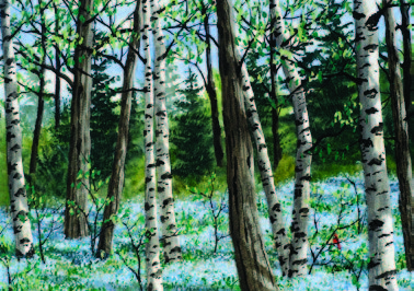 Kathy Glasnap painting woods