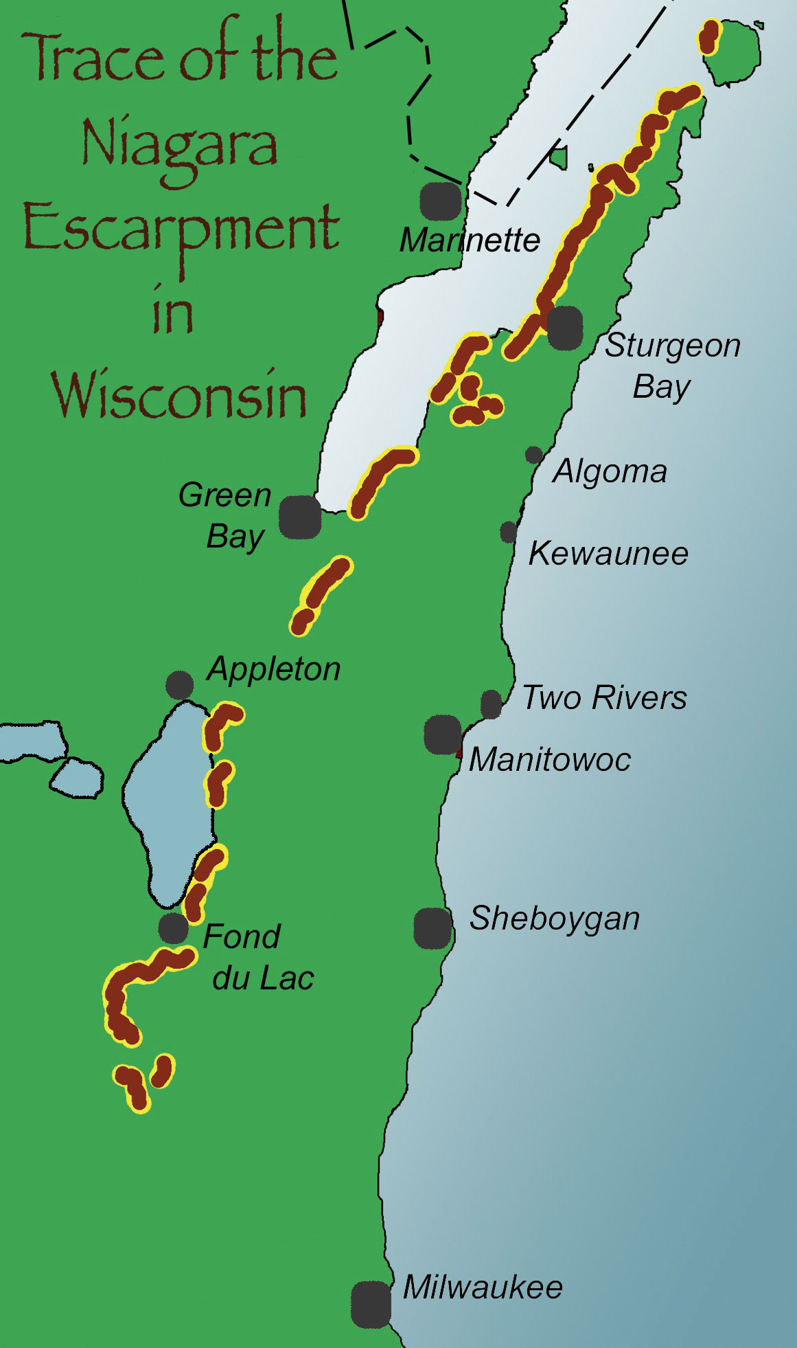 Niagara Escarpment Wisconsin Map.The Story In The Rocks Door County Pulse