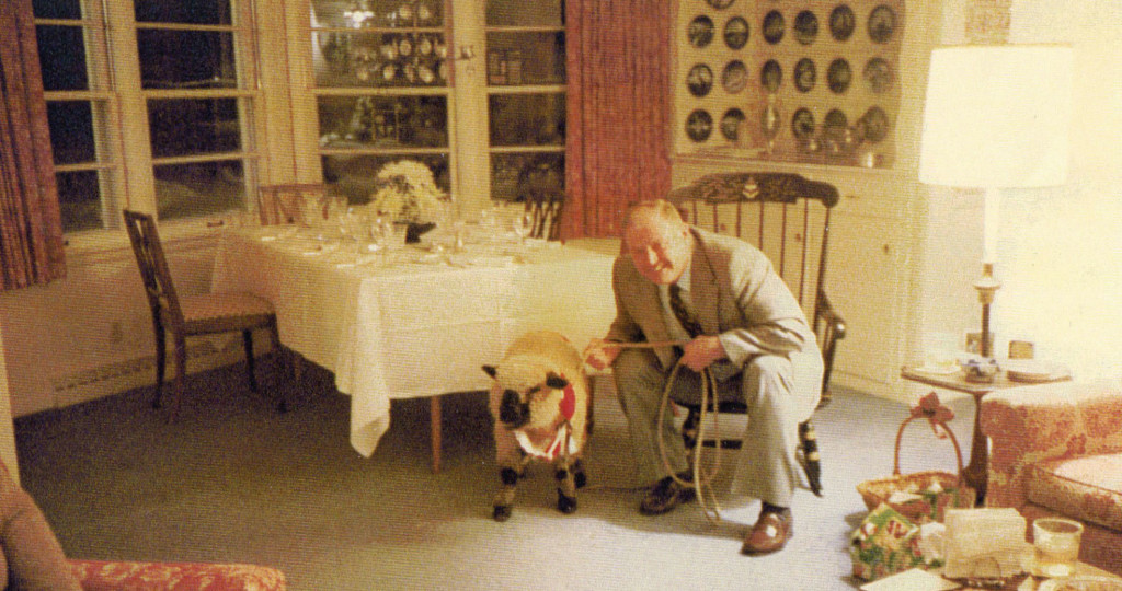 Al Johnson with one of many oddball pets given to him by Wink Larson over the years, one of which was his first goat.