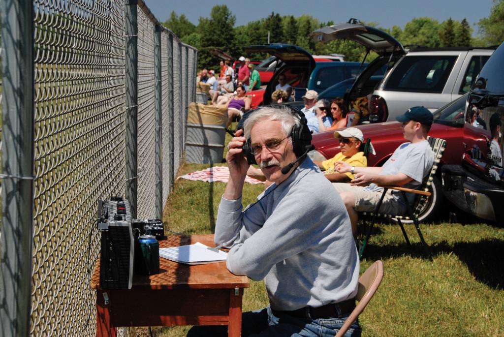WDOR's Eddy Allen calls a Door County League Baseball game, one of the best parts of his job. Photo by Dan Eggert.