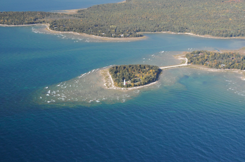 Cana Island, Baileys Harbor, from the air. The lighthouse is one of Door County's most iconic attractions.