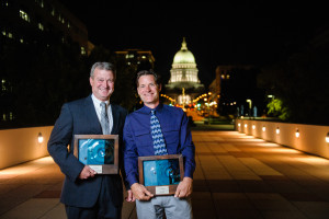 Rep. Joel Kitchens and Door County Land Trust Executive Director Dan Burke with their Land Conservation Leadership Awards from Gathering Waters at a ceremony held in Madison on Sept. 24. Photo by Althea Dotzour Photography.