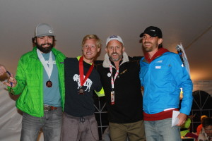 The top three male finishers with Race Director Sean Ryan pictured, left to right: Christopher Dennuci (3rd), Anthony Kunkel (2nd), Sean Ryan, Zach Bitter (1st).