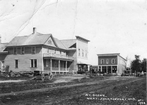 A street scene in West Jacksonport, circa 1908.