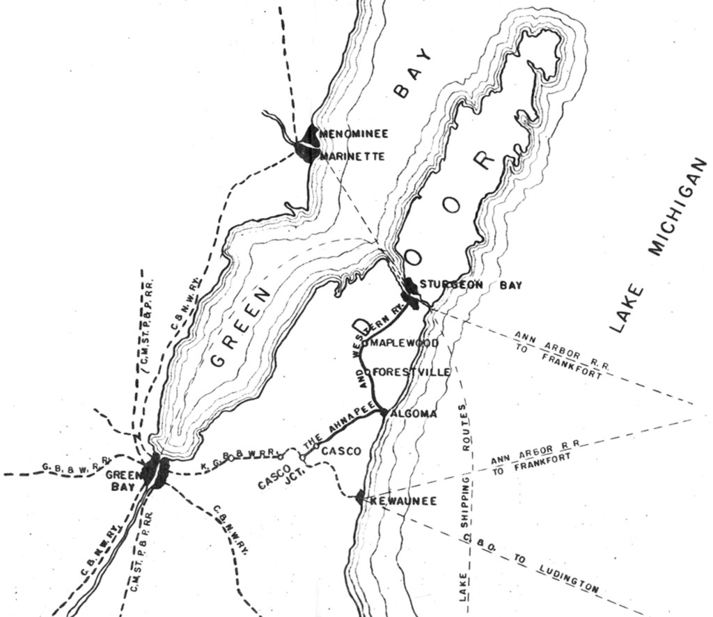 Ahnapee and Western Railway Map. Andy Laurent