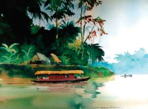 """In Surinam,"" watercolor, 1962."