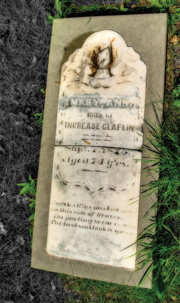 The grave of Mary Anne Claflin. Photo by Len Villano.