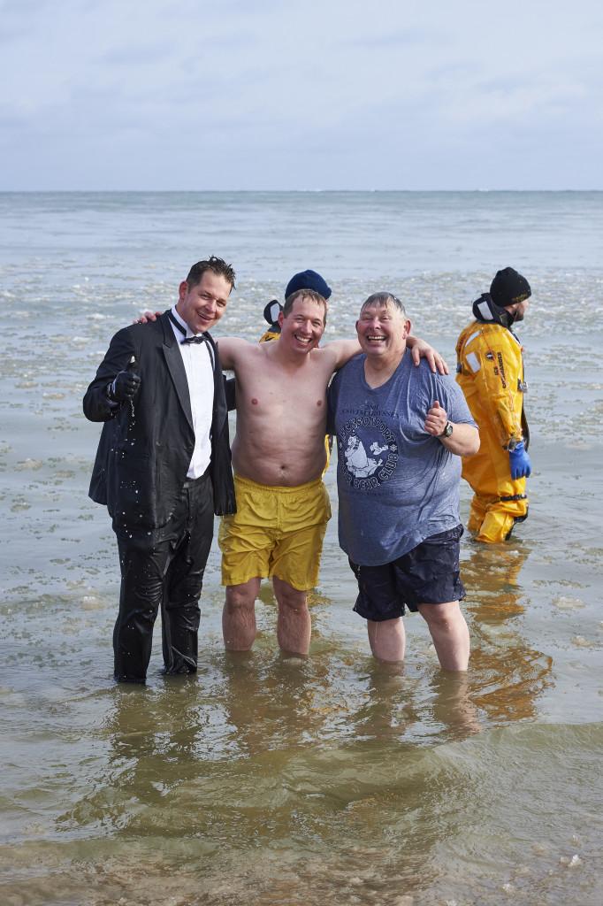 J.R., Jon and Joe Jarosh after taking a dip in the 2015 Polar Bear Plunge. Photo by Len Villano.