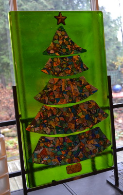 Fused glass Christmas tree decoration by Barbara and Doug Henderson.