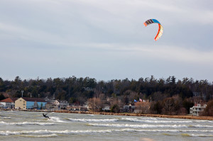 Kitesurfers still take to the water in Baileys Harbor on Dec. 10. Photo by Jim Lundstrom.