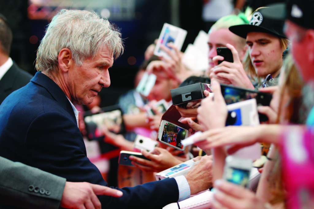 Harrison Ford attends the Star Wars: The Force Awakens fan event at Sydney Opera House on December 10, 2015 in Sydney, Australia. Ford reprises his role as Han Solo in the new film. Photo by Brendon Thorne/Getty Images for Walt Disney Studios.