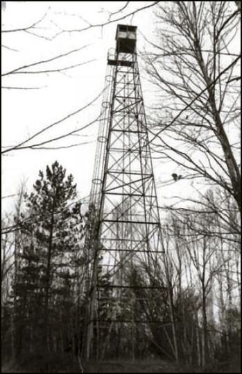 The Wisconsin Conservation Commission (now the DNR) constructed Fifield Fire Tower in Price County in 1932, one year before the establishment of the Chequamegon-Nicolet National Forest. The 100' Aermotor tower with a 7'x7' metal cab has a vertical ladder access. Restored by the U.S. Forest Service, it was listed on the National Register of Historic Places in 2007. Photo from the National Historic Lookout Register.