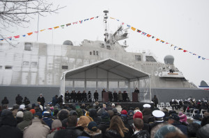 Vice Chief of Naval Operations Adm. Michelle Howard speaks during the Nov. 21 commissioning of USS Milwaukee (LCS 5). USS Milwaukee, the third Freedom variant littoral combat ship, is designed to operate in shallow and coastal waters throughout the world. U.S. Navy photo