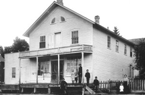 John Anclam's General Store in Baileys Harbor around 1900. Anclam was postmaster from 1898 to 1915. The post office was located in the addition on the left, but it was unheated space and in wintertime the post office counter was moved into the heated store. Photo courtesy of the Baileys Harbor Library collection.