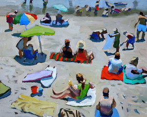 Beach oil painting by Peggi Kroll-Roberts.