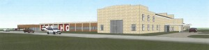 An artist's rendering of how the rehabbed old county highway shop could look as the new EMS headquarters and senior center. Image provided by Venture Architects.