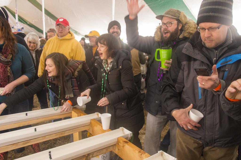 Minnow races inside the tent at Winter Fest. Photo by Len Villano.