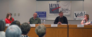 The candidates in the League of Women Voters of Door County candidate forum for Sturgeon Bay Common Council held on Feb. 3 are, from left, 2nd District challenger Kelly Avenson, 2nd District incumbent Ron Vandertie, 6th District incumbent Stewart Fett and 6th District challenger Nissa Norton. Photo by Jim Lundstrom.