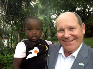 Congressman Ribble meets Grace, a Congolese 3-year-old who was legally adopted by a Green Bay family two years ago and is still living in an orphanage waiting to be allowed by the Congolese government to leave the Democratic Republic of the Congo. Submitted photo.