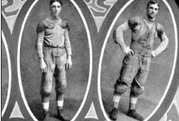 Coached by Eddie Cochems, St. Louis players' Jack Schneider and Bradbury Robinson are credited for the first pass, completion, and touchdown pass in football history. It occurred in a game against Carroll College in Waukesha, Wis. on Sept. 5, 1906. St. Louis won 22-0. Photo credit: St. Louis University, 1906.