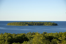 Horseshoe Island is viewable from above at the top of Eagle Tower in Peninsula State Park. Photo by Len Villano.