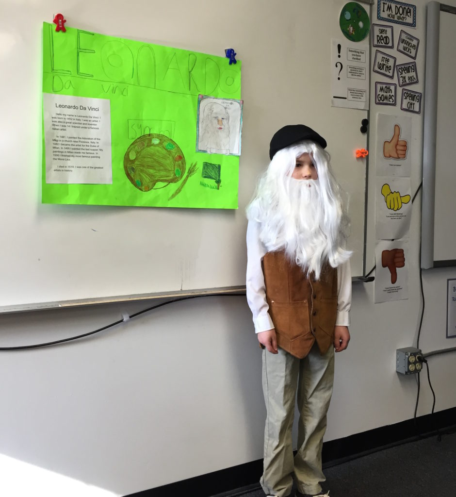 William Lautenbach as Leonardo da Vinci.