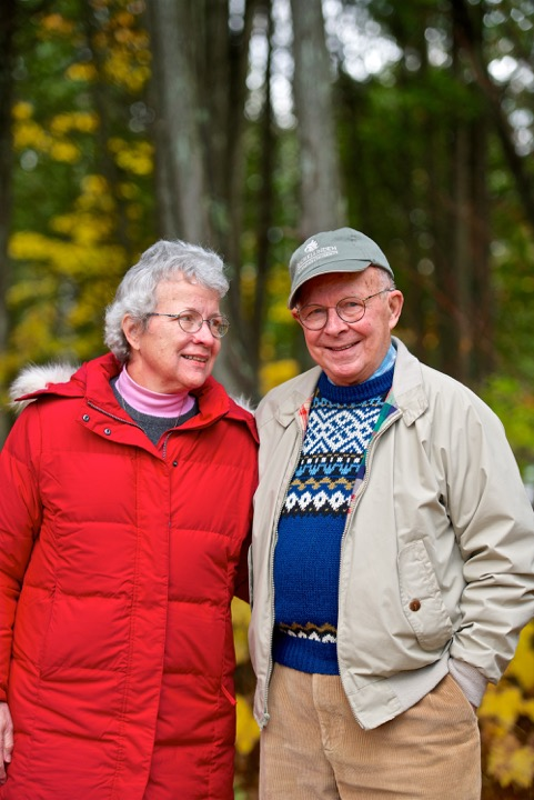 """Roy Lukes with his """"partner in nature"""" Charlotte. The two have been inseparable since they met on one of Roy's guided hikes at The Ridges Sanctuary in 1971. Photo by Len Villano."""