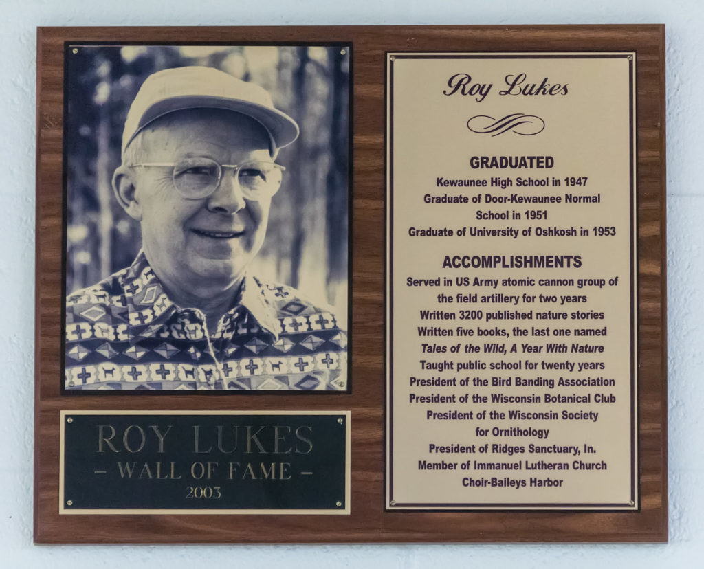 Roy Lukes' plaque in the Kewaunee High School Wall of Fame. Photo by Len Villano.