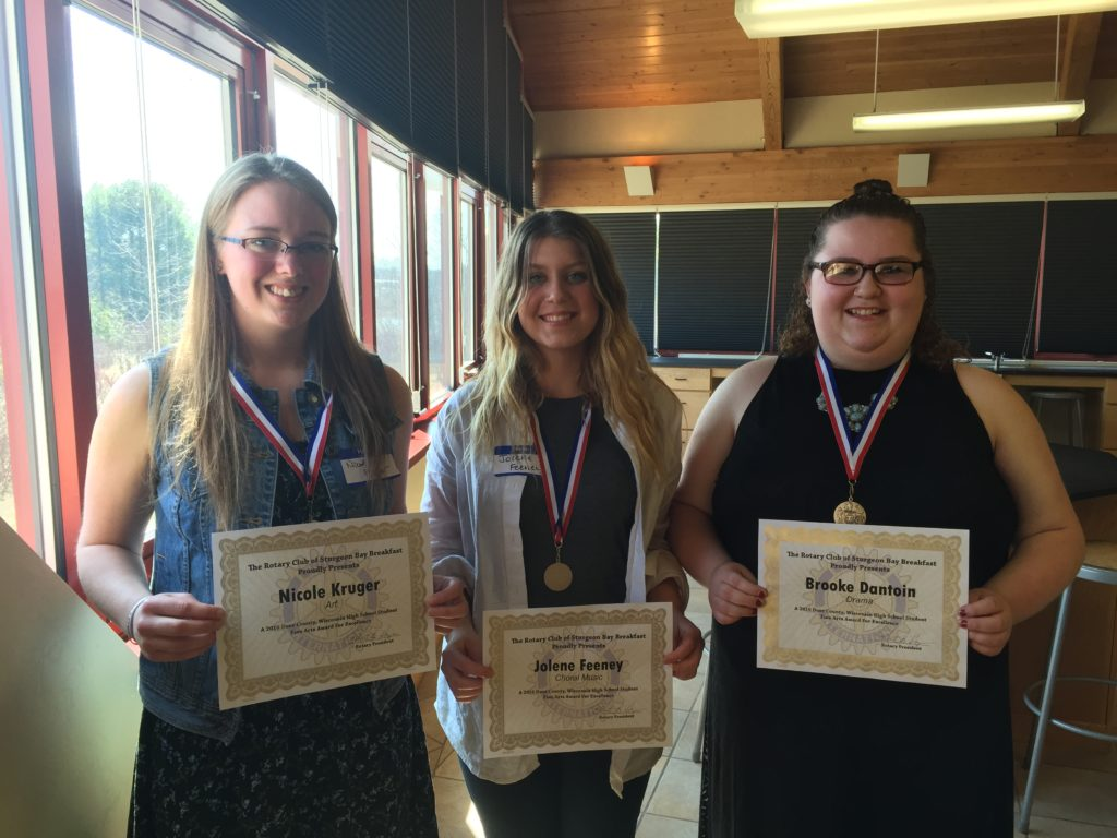 (Left to right) Nicole Kruger, Jolene Feeney and Brooke Dantoin at the Sturgeon Bay Breakfast Rotary luncheon. Submitted.