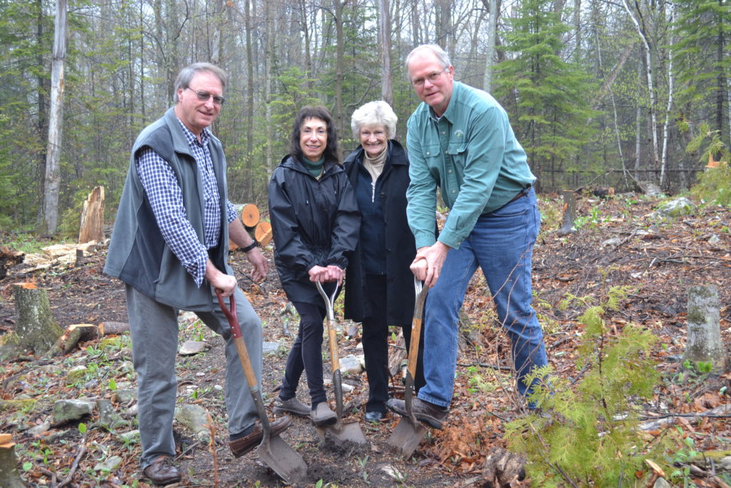 (From left) The Clearing's board president Gary Chaudoir, life member of The Clearing Jean Barrett, past president Carolyn Kimbel, and The Clearing's Executive Director Mike Schneider break ground on The Forge. Photo by Alyssa Skiba.