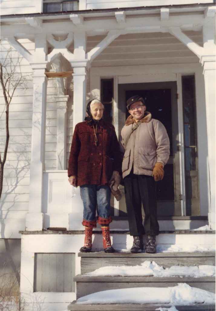 Emma Toft and Roy Lukes on the day she handed him the keys to the Upper Range Light in 1968. Submitted.