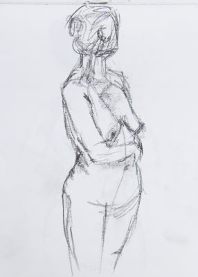 A sketch of Gretchen Guerts, created during the Life Drawing Night at Base Camp in Sister Bay. Image by Kay McKinley.