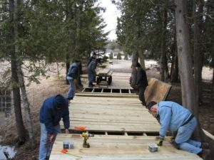 Construction on the Hidden Brook Boardwalk. Photo by Ed Miller.