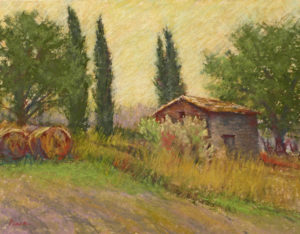 Sandra Place, THE COUNTRY HOUSE, TATTI, pastel 11x14 inches