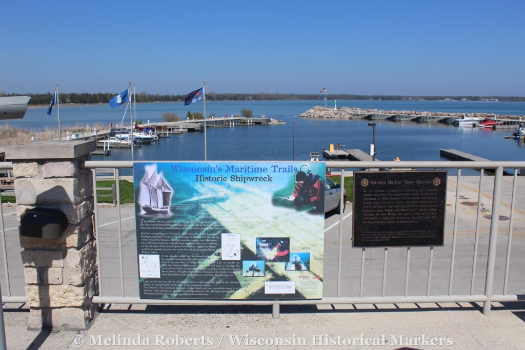 Wisconsin's Maritime Trails marker for the historic shipwreck of the schooner Christina Nilsson.