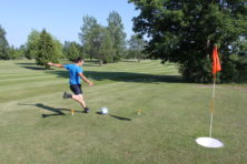 Milanko Kolundzija plays footgolf at Stonehedge Golf Course. Photo by Jackson Parr.