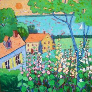 """Hollyhock Cottage"" by Susan Hale."