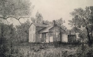 The Muirs built a second farmhouse in 1857, known as the Hickory Hill House. Illustration by John Muir.
