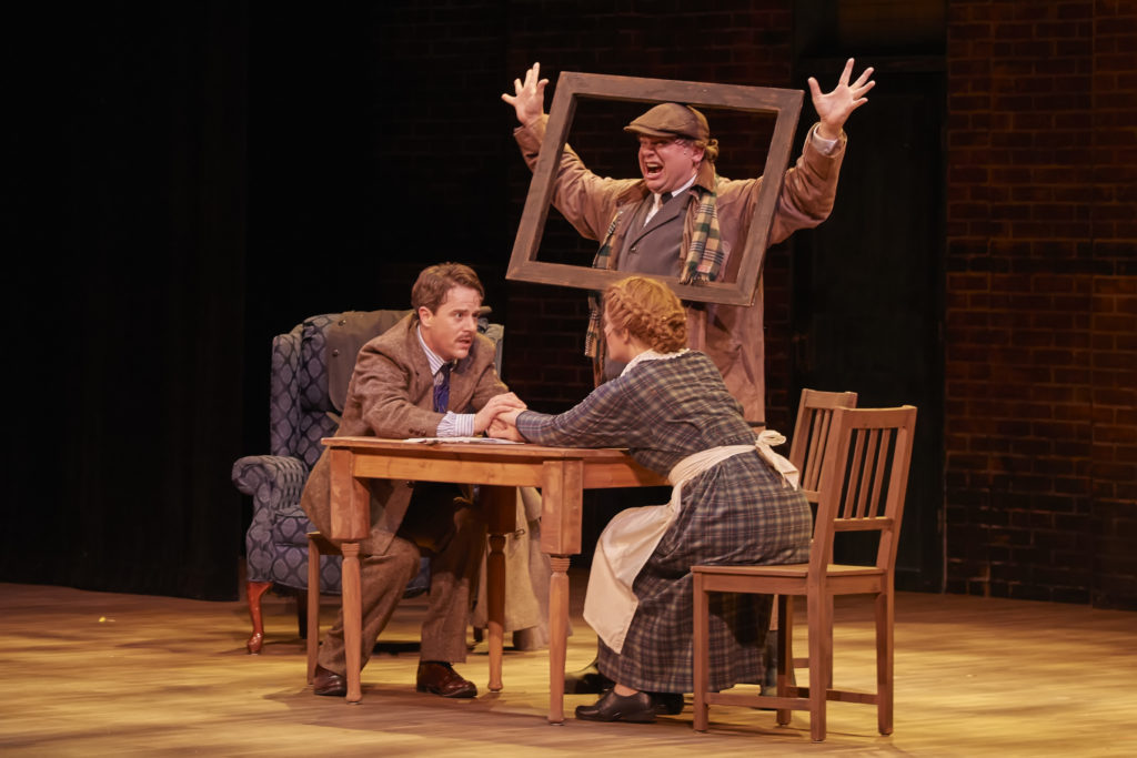 "Neil Brookshire, Joe Foust and Erica Elam in a scene from ""The 39 Steps."" Photo by Len Villano."