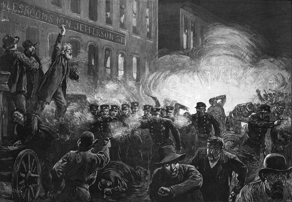 : This public domain image of the May 4, 1886, Haymarket riot in Chicago was originally published in Harper's Weekly.