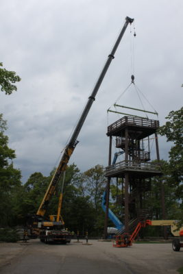 Deconstruction of Eagle Tower in Peninsula State Park began Sept. 19 and is expected to be complete by Sept. 23. Photo by Jackson Parr.