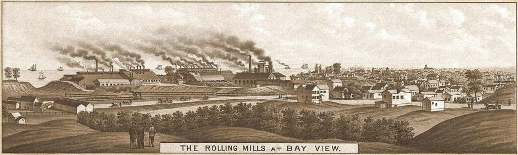 The Bay View rolling mills, where a labor march that left seven dead ended. Public domain.