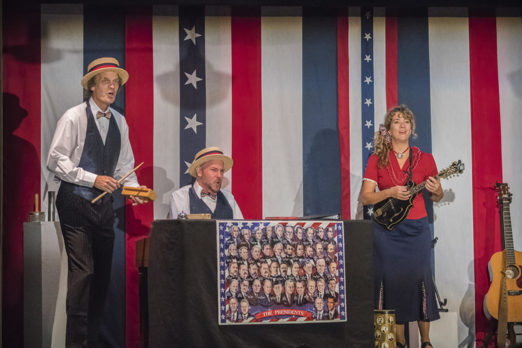 Jeff Herbst, Jake Endres and Karen Mal star in Northern Sky Theater's reprisal of the musical review, 'And If Elected.' Photo by Len Villano.